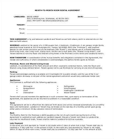 printable rental agreement month to month printable agreement forms 23 free documents in word pdf