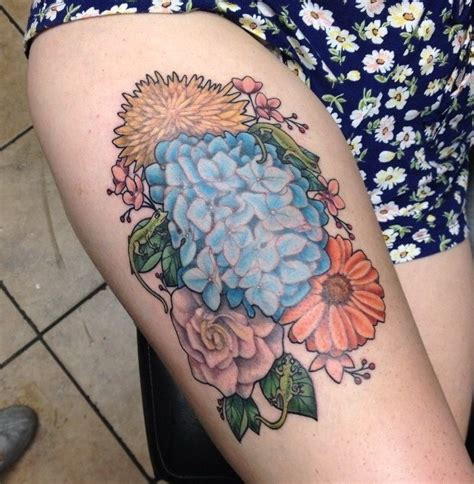 colorful thigh tattoos awesome colorful flowers on thigh tattooimages biz