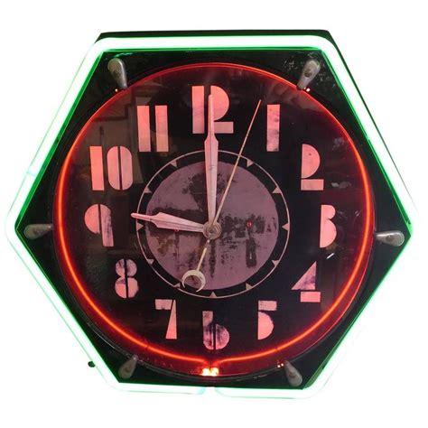 art deco wall clock at 1stdibs art deco hexagon neon wall clock at 1stdibs