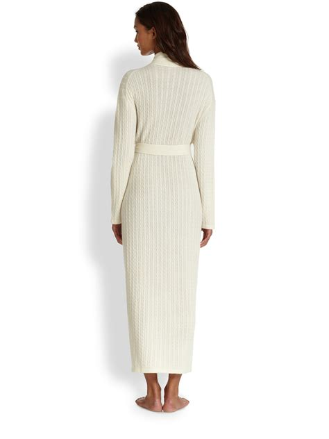 cable knit robe lyst saks fifth avenue cable robe in white