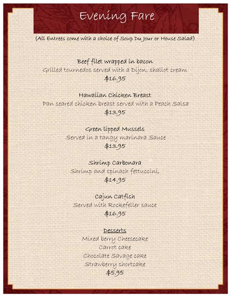Dinner Menu Template Tristarhomecareinc Meal Menu Template