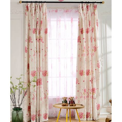 Pink Floral Curtains Pastoral Style Floral Curtains Beige Linen Cotton Blend Fabric Pink Floral Pattern