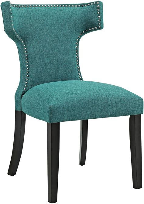 curve teal upholstered dining chair eei 2221 tea