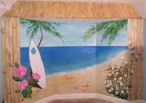 Tropical beach mural hibiscus name mural tropical bedroom