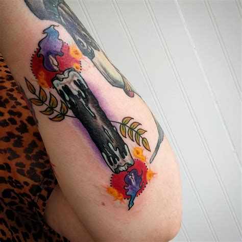 traditional candle tattoo a new traditional ended candle by casey hart
