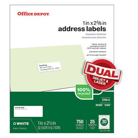 printable stickers office depot office depot brand 100percent recycled mailing labels