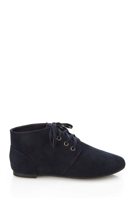 Boots Shoes L Gold 21 25 forever 21 faux suede chukka boots in blue navy lyst