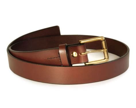 mens brown leather belt grain leather belt