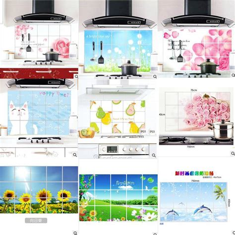 75 45cm flower kitchen wall stickers decal home decor art kitchen wall decor sticker aluminum foil sticker anti oil