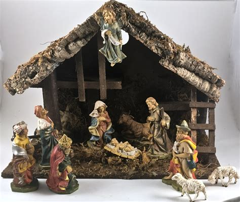 vintage fontanini nativity set italy 13 piece manger
