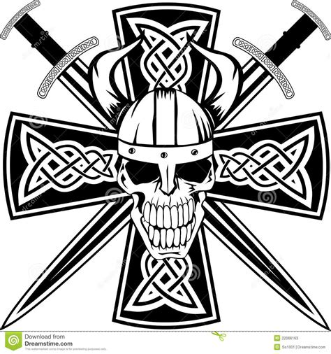 celtic cross and skull stock photos image 22066163