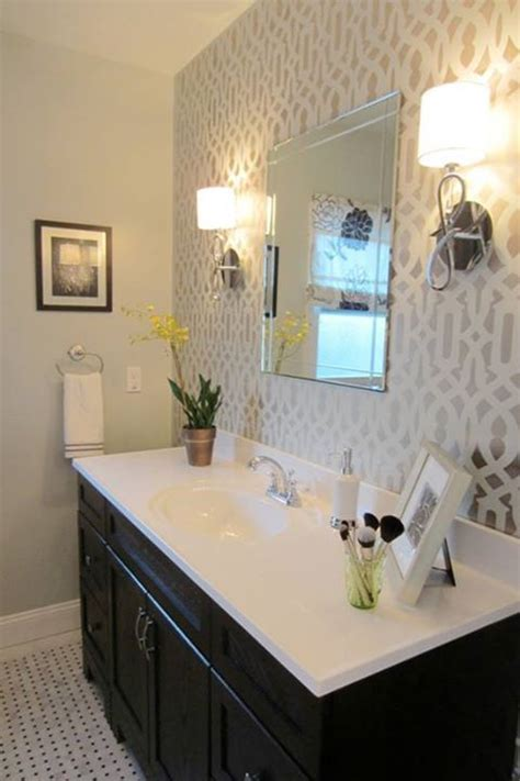 best 25 wallpaper accent wall bathroom ideas on