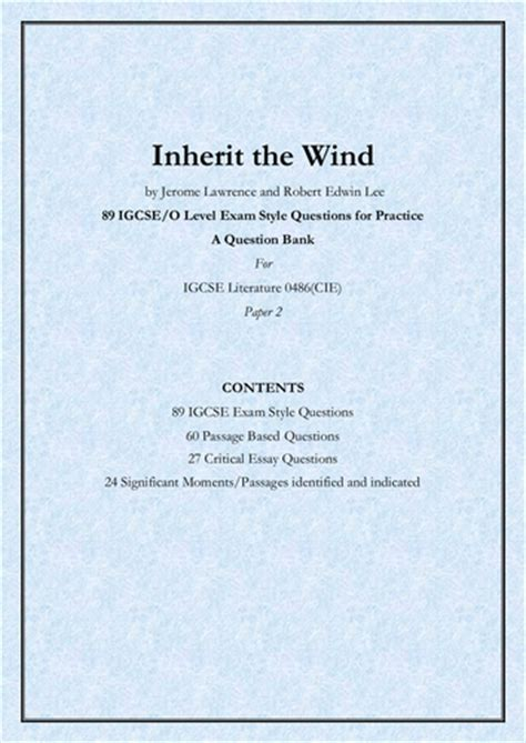 Inherit The Wind Essay by Inherit The Wind By And 89 Igcse O Level Style Questions A Question Bank By