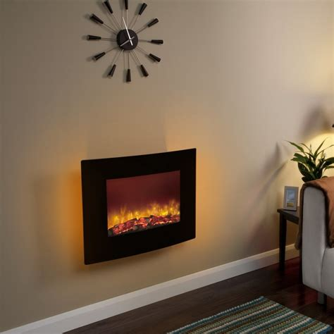 Curved Black Glass 25 Inch Wall Mounted Electric Fire