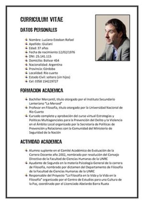 Modelo Curriculum Vitae Estudiante Argentina Calam 233 O Curriculum Vitae De Luciano Giuliani