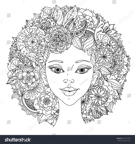 beautiful fashion women abstract hair floral stock vector