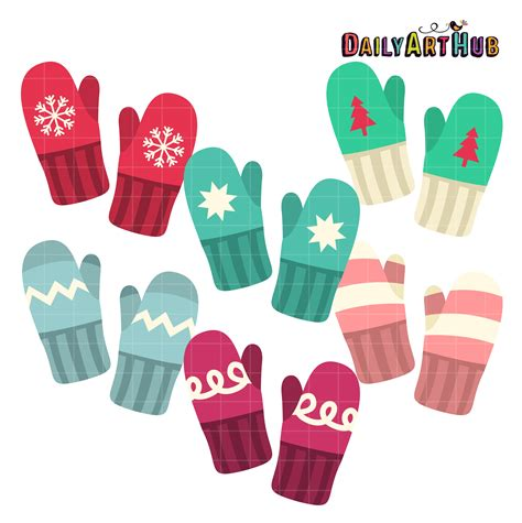 Shop For Home Decorative Items by Winter Mittens Clip Art Set Daily Art Hub