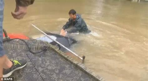 boat car sink louisiana woman is rescued from drowing in floodwaters