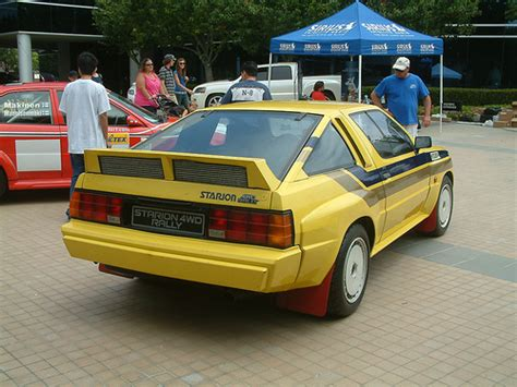 mitsubishi starion rally car yellow rally mitsubishi starion at the mitsubishi owners