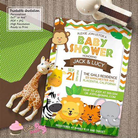 Animal Themed Baby Shower Invitations by Safari Baby Shower Invitations Jungle Animals Diy By
