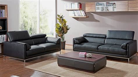 Sofa Eaton by Black Eaton Leather Sofa Set With Loveseat Zuri Furniture