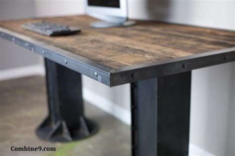 Modern Industrial Desk Table Steel I Beam Urban Loft Modern Steel Desk