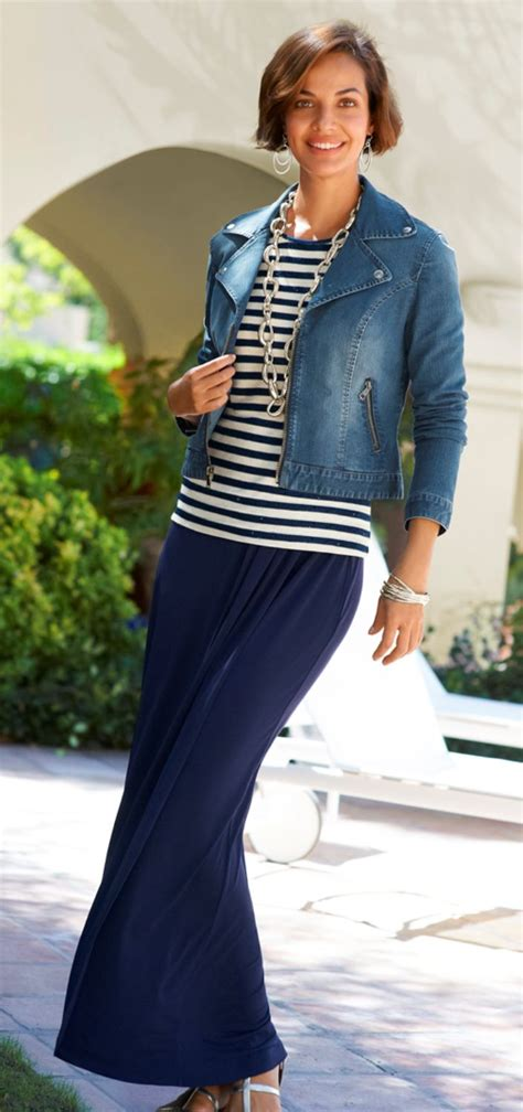 maxi skirt striped top denim jacket and bold link