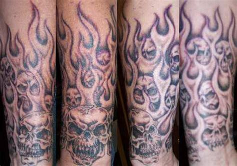 skull sleeve tattoos designs flaming skull half sleeve picture checkoutmyink