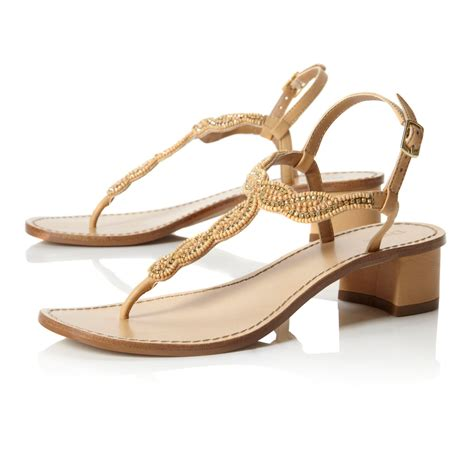 beige heeled sandals dune fuji beaded low block heel sandals in beige