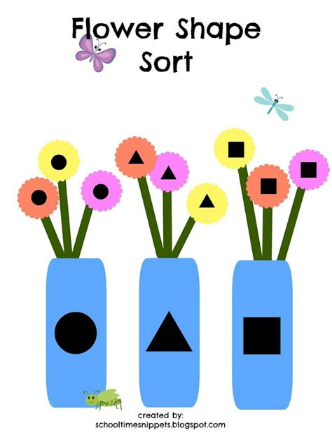 printable shapes for sorting school time snippets flower shape sort free printable