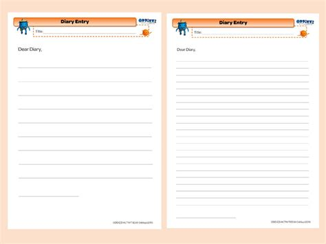 diary writing template ks2 diary writing a day in the of
