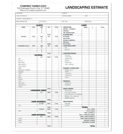Landscaping Templates by Landscaping Estimate Template Outdoor Goods