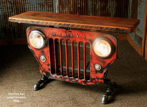 jeep grill art steunk industrial jeep willys grill stand or
