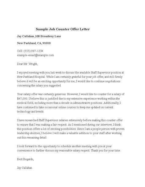 sample job counter offer letter sample job