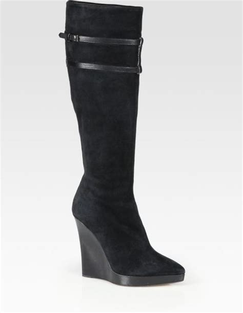 reed krakoff suede knee high point toe wedge boots in