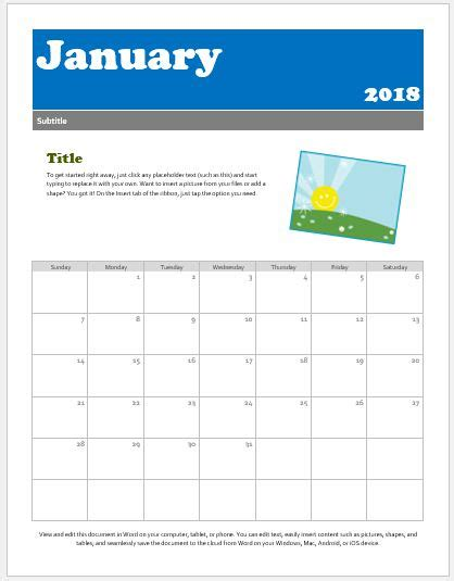 preschool calendar templates for ms word excel word