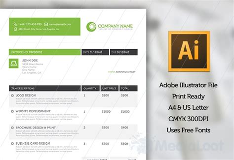 invoice template illustrator stylish invoice template web templates