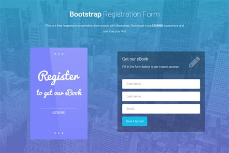 Bootstrap Registration Forms 3 Free Responsive Templates Azmind Bootstrap Templates For Registration Form