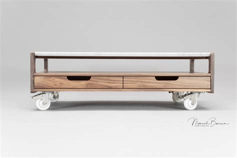 coffee table with caster wheels habitables marble and walnut coffee table with caster