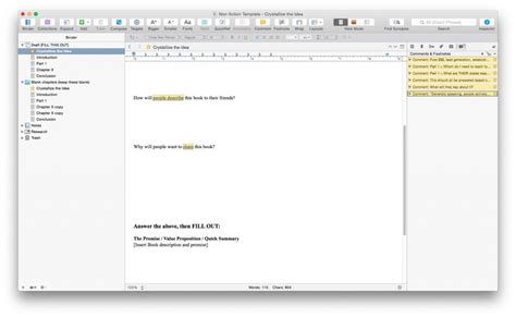 scrivener non fiction book template choice image
