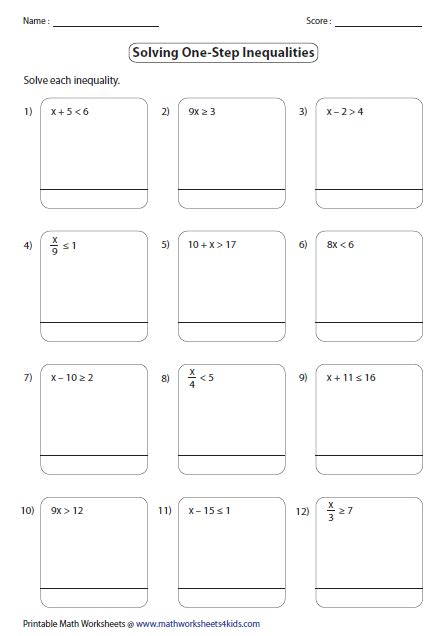 Solve And Graph Inequalities Worksheet by One Step Inequalities Worksheets