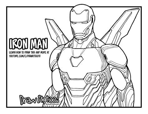 marvel infinity coloring pages how to draw iron man avengers infinity war drawing