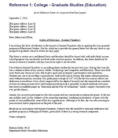 college recommendation letter template sle letter of reference college reference letter