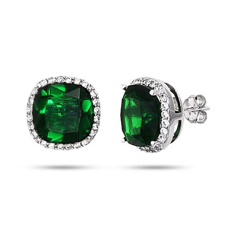 envious cushion cut sterling silver emerald green stud