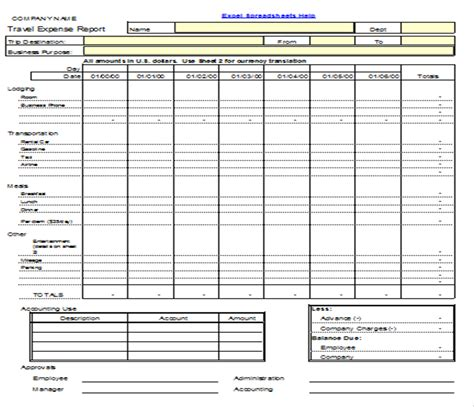 travel expense report template travel expense report template images