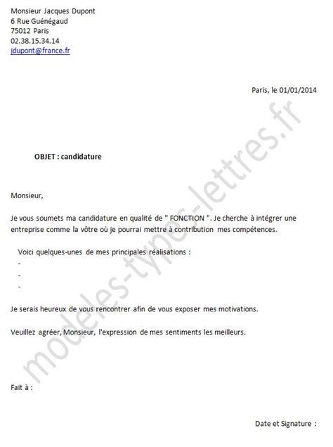 Type De Lettre Entreprise Mod 232 Le De Lettre De Candidature 224 Un Emploi