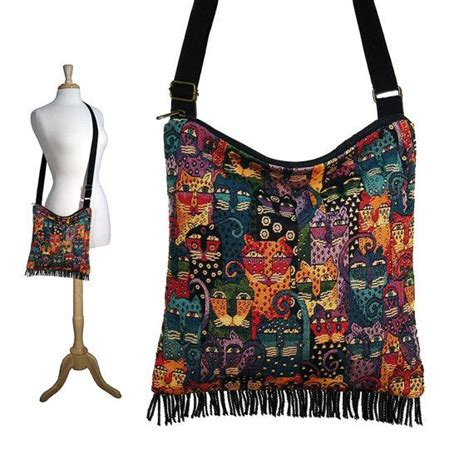 Burch Sling Bag hobo sling bag bohemian fringe bag purse with adjustable laurel burch cat tapestry