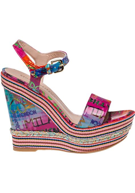 stuart weitzman single multi colour patent leather wedge