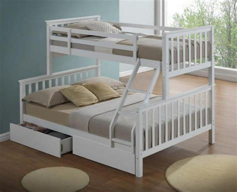 three bed bunk bed artisan new 3 sleeper wooden bunk bed white