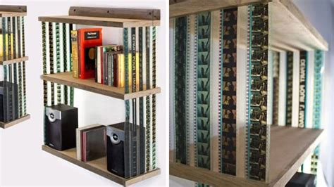 hanging bookshelf   recycled mm film recyclart